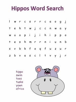 Hippos Printable Word Search Puzzles
