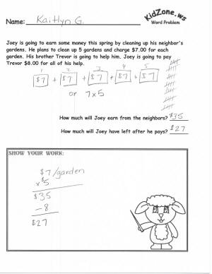 KidZone Spring Themed Math Word Problems